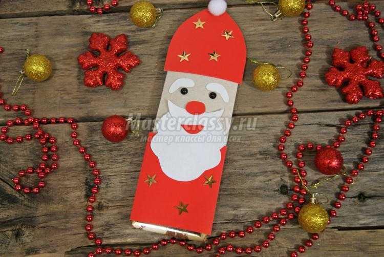 новогодняя упаковка шоколада. Дед Мороз и олень