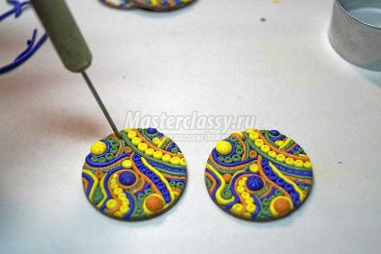 Сережки-цветочки из полимерной глины своими руками 13