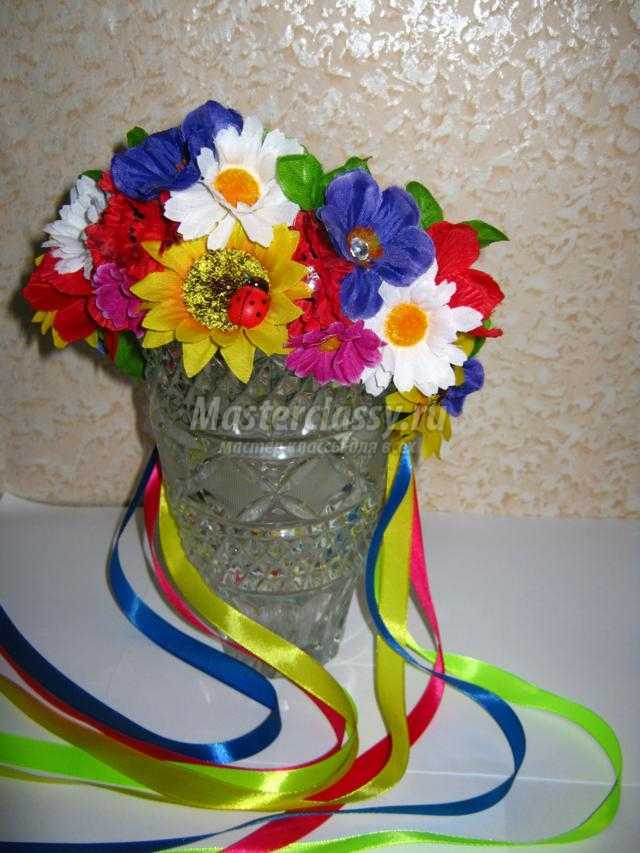 венок в украинском стиле из искусственных цветов