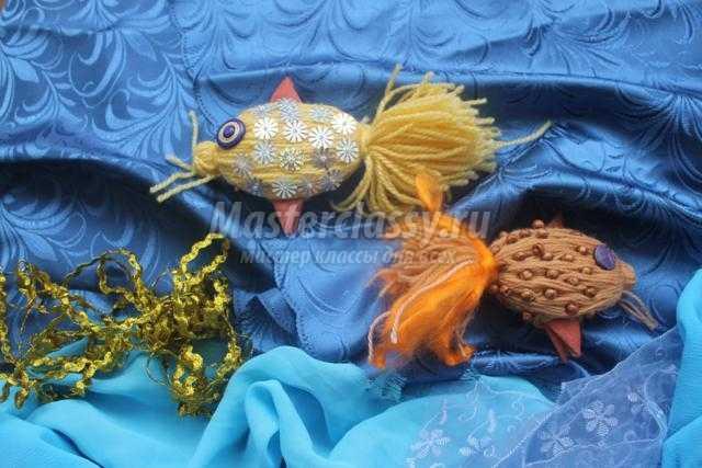поделки из ниток. Золотая рыбка