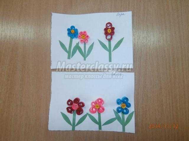 детские поделки из бумаги. Цветы в технике квиллинг