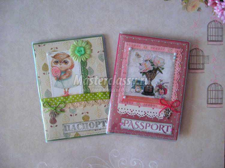обложки на паспорт в технике скрапбукинг