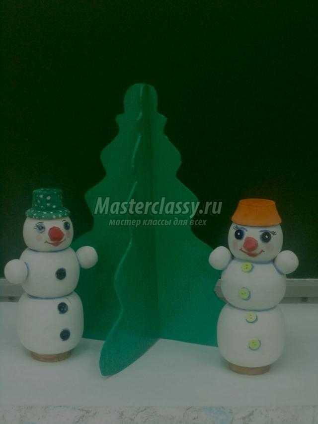 новогодние сувениры из дерева и фанеры. Снеговики и елочка