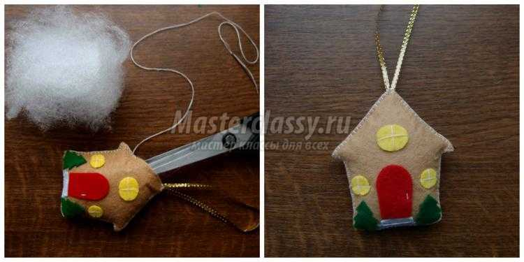 елочные игрушки из фетра. Новогодний домик