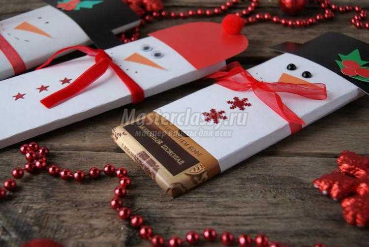 новогодняя упаковка для шоколада. Снеговики