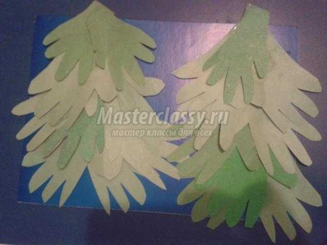 новогодняя аппликация из бумаги. Зимний лес