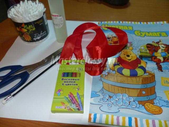 новогодняя открытка из бумаги и ватных палочек. Овечка