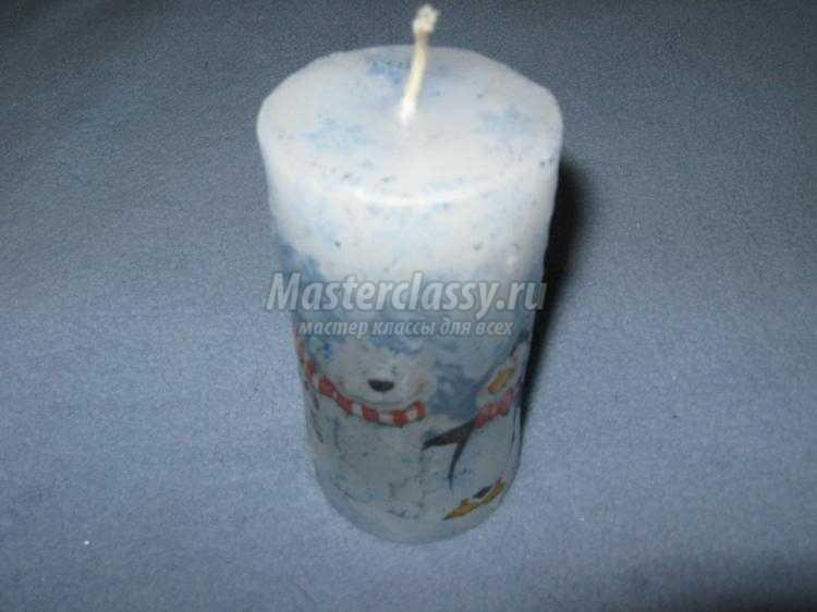 новогодняя свеча в технике декупаж и скрапбукинг
