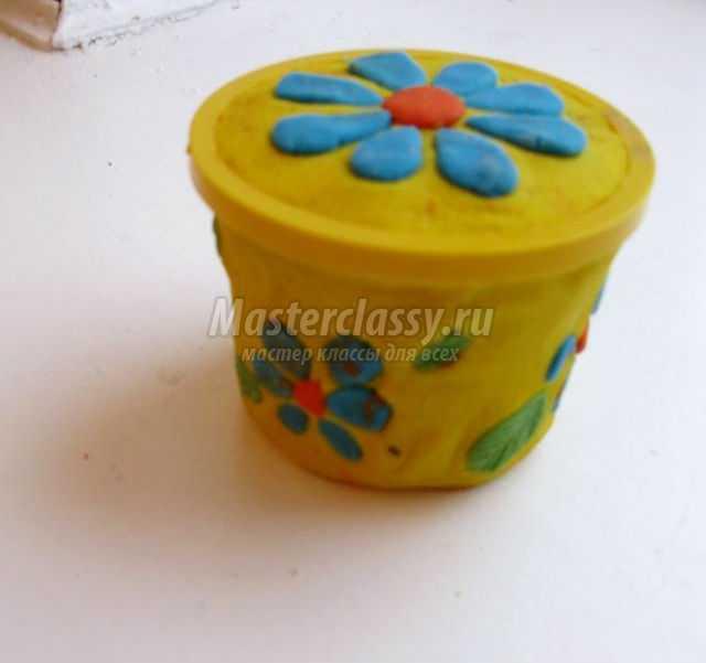 шкатулочка для драгоценностей из соленого теста и баночки