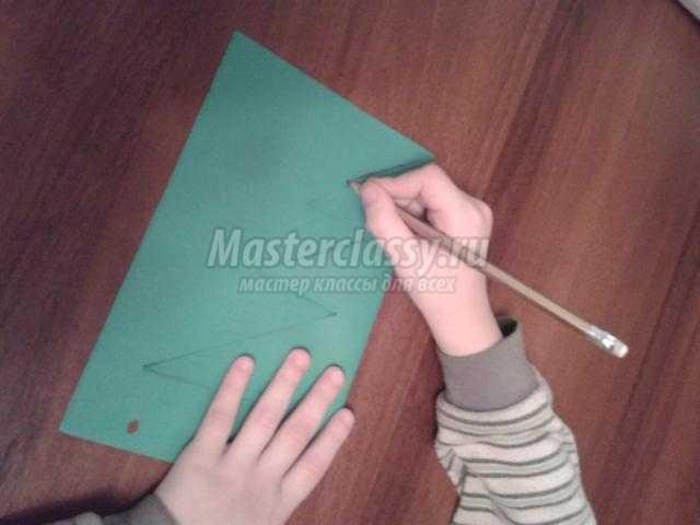 новогодняя елочка из цветной бумаги