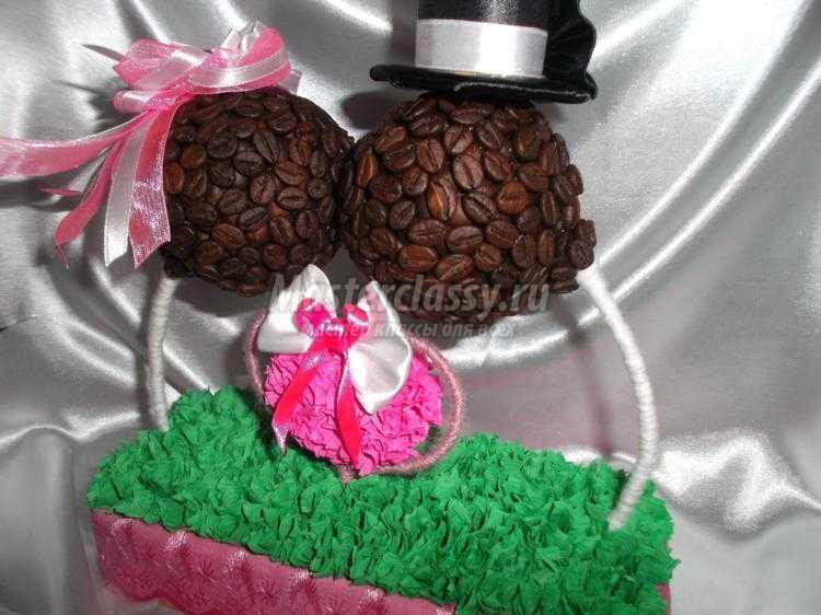 свадебный топиарий из зерен кофе. Жених и невеста