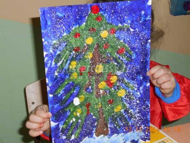 рисование отпечатками рук картина. Новогодняя елочка