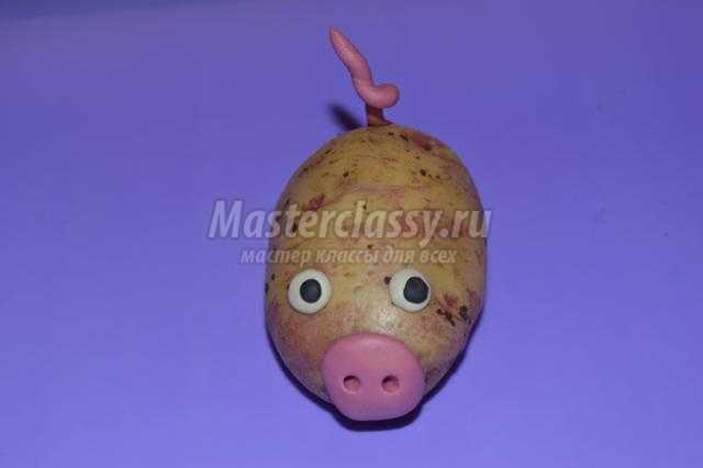 поделки из овощей. Свинка из картофеля