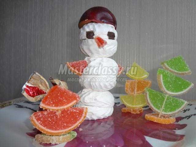сладкое угощение к Новому году. Зефирный снеговик