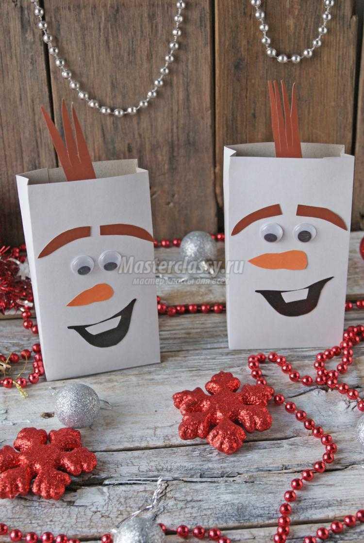 новогодний упаковочный пакетик. Снеговик Олаф