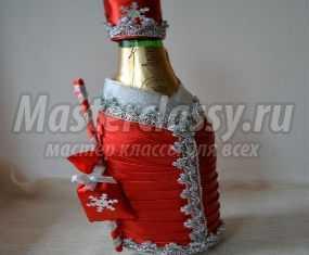 Съемное украшение для шампанского. Дед Мороз. Мастер-класс с пошаговыми фото