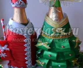 Новогоднее украшение для бутылки шампанского. Елочка. Мастер-класс с пошаговыми фото