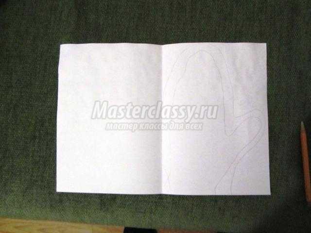 новогодняя открытка из бумаги. Рукавичка