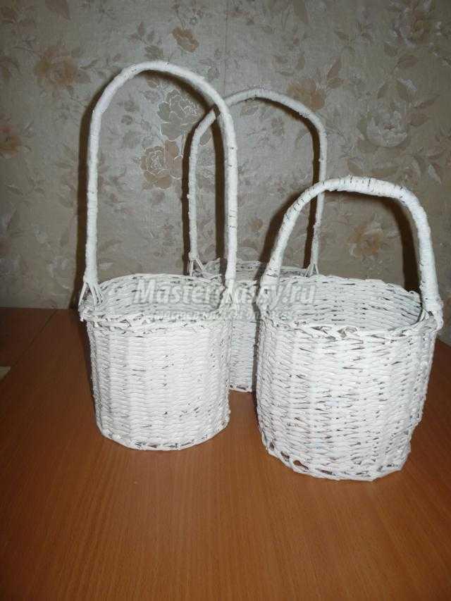 корзины для новогодних подарков из бумажной лозы