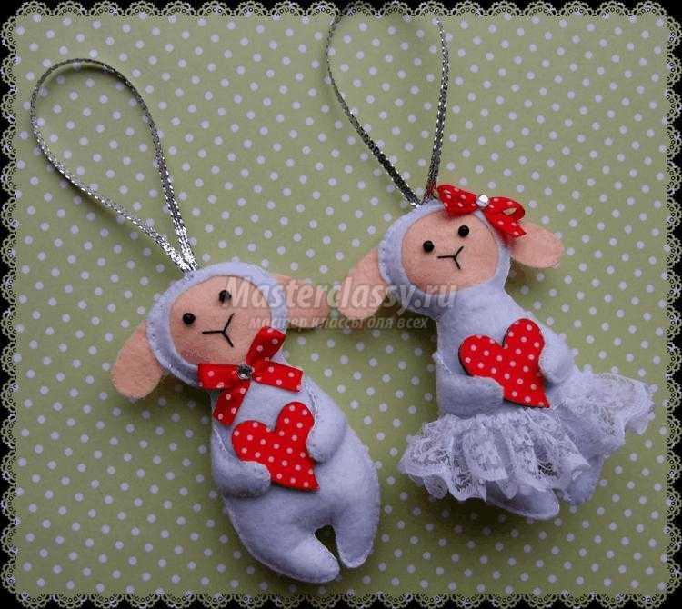 барашек из фетра ко Дню Святого Валентина