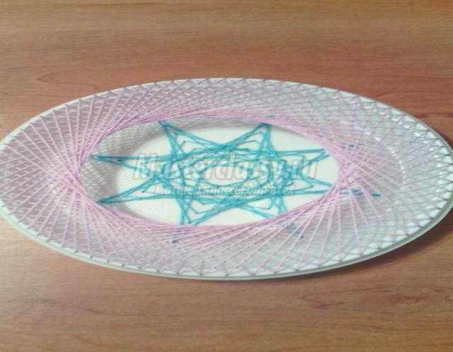 подарочная тарелочка в технике изонить