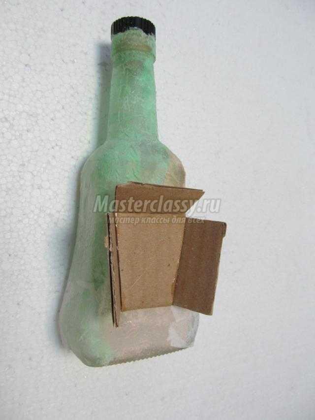 новогодний сувенир. Зимний домик из бутылки