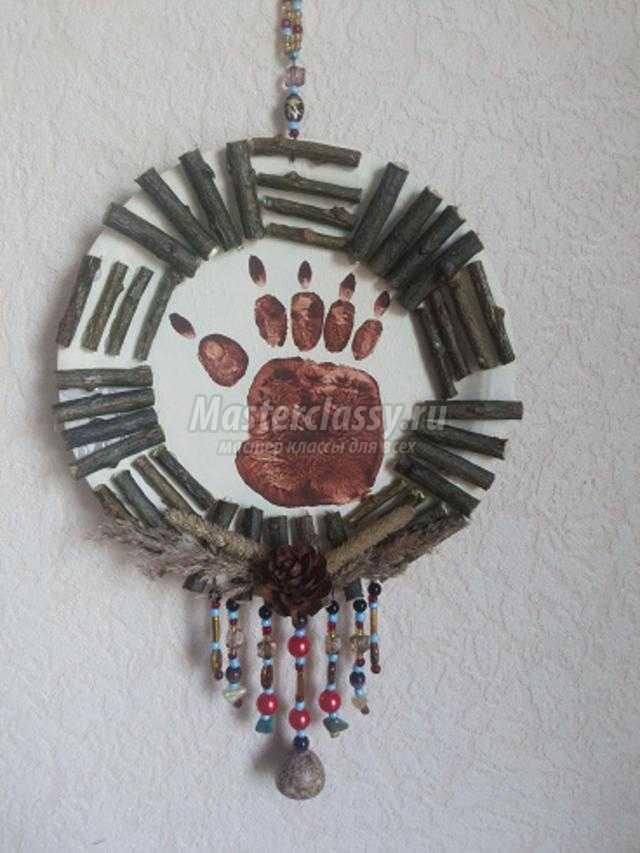 декоративное панно на стену из картонной тарелочки