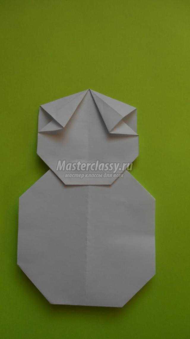 снеговик из бумаги в технике оригами