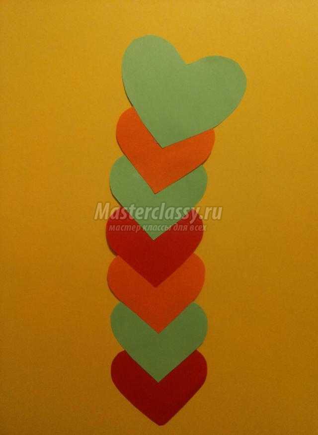 гусеница из сердечек ко Дню Валентина