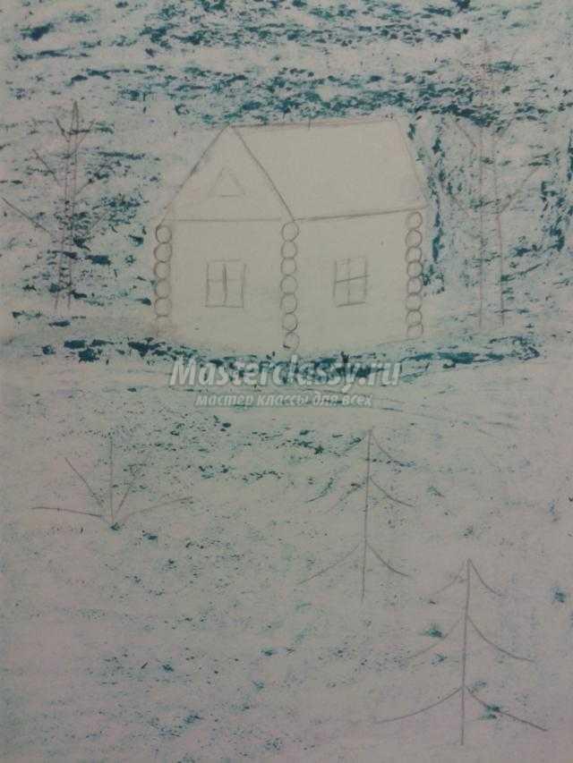 картина в технике пластилинография. Зимний вечер