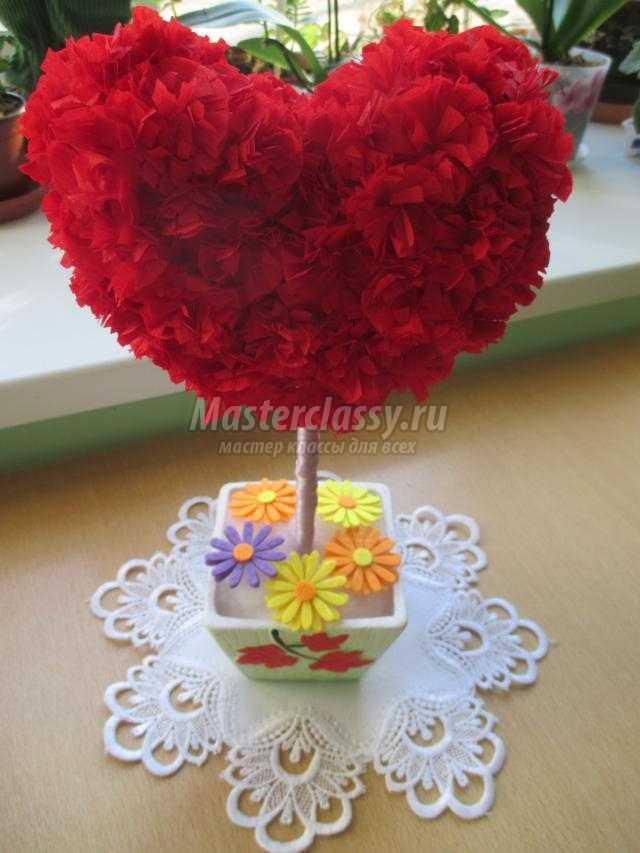 топиарий ко Дню Валентина. Сердце маме подарю
