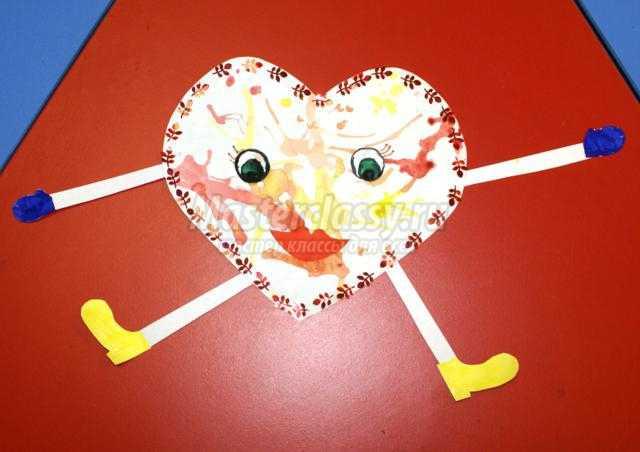 валентинка-клякса из бумаги ко Дню Валентина