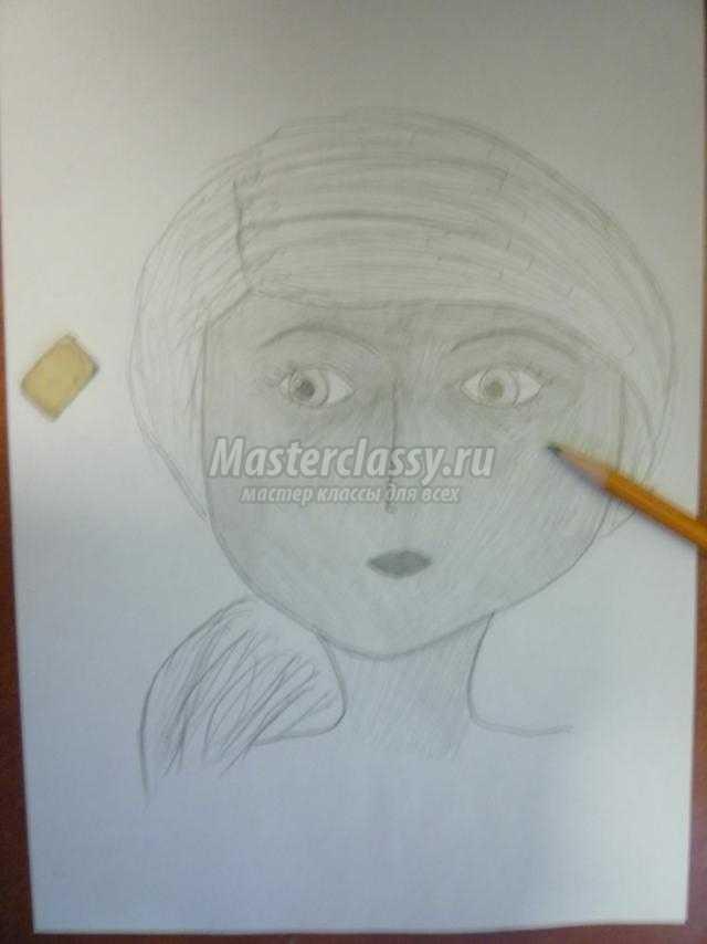 рисуем портрет простым карандашом