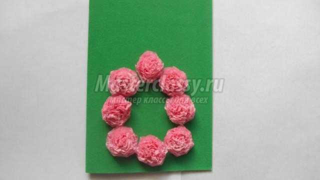 открытка с цветами из салфеток маме к 8 Марта