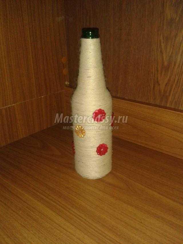 Ваза из бутылки из шпагата своими руками