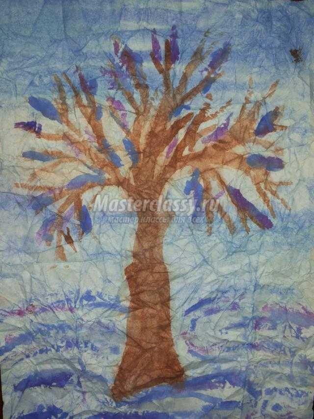 нетрадиционная техника рисования акварелью. Зимнее дерево