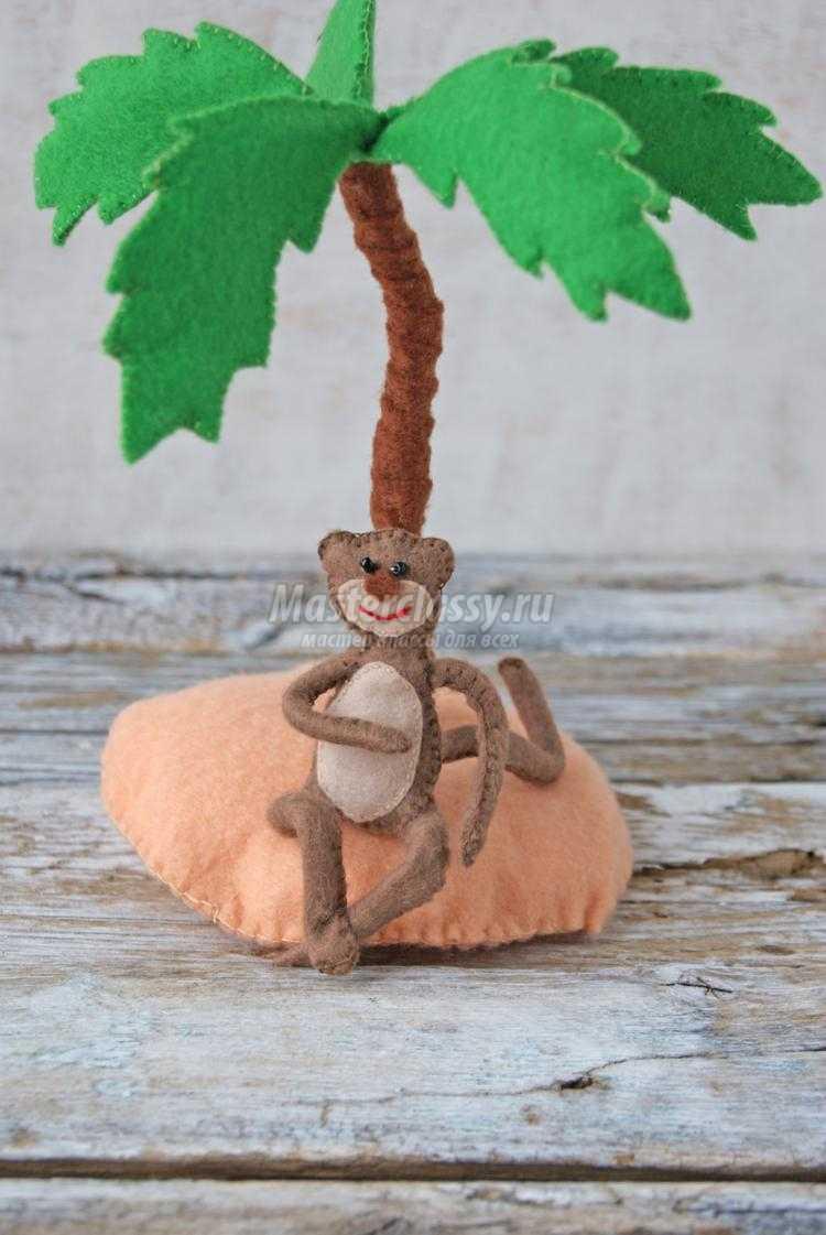 игрушки из фетра. Пальма и обезьянка
