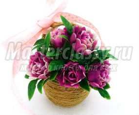 Корзинка из шпагата с цветами на 8 Марта. Мастер-класс с пошаговыми фото