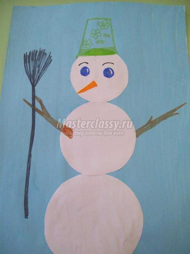 зимняя аппликация из бумаги. Снеговик