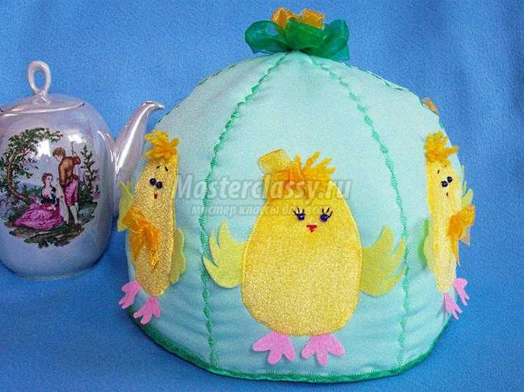 пасхальная грелка на чайник с цыплятами