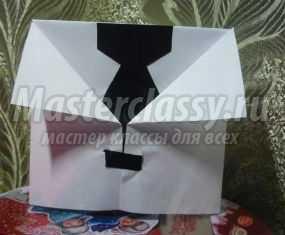 Открытка-рубашка из бумаги для папы на 23 февраля. Мастер-класс