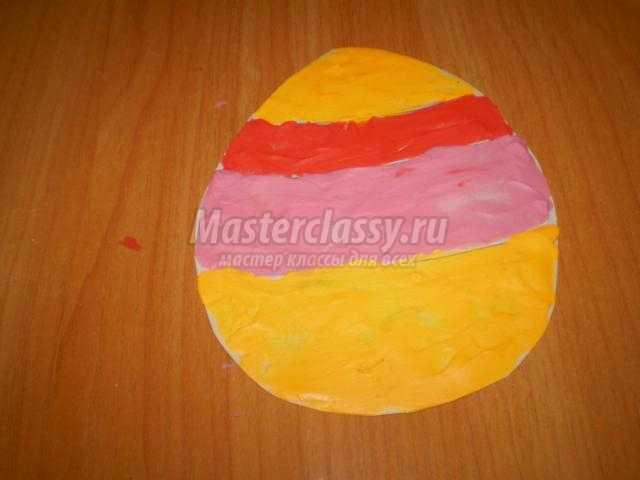 пасхальное яйцо из пластилина в технике налеп