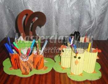 Карандашница из гофрированного картона