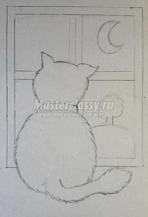 """""""Котик  в оконце"""".  Фигурное вырезание. Рисуем зубной пастой. Мастер-класс."""