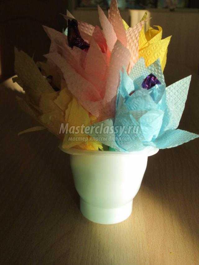 цветы из салфеток с сюрпризом