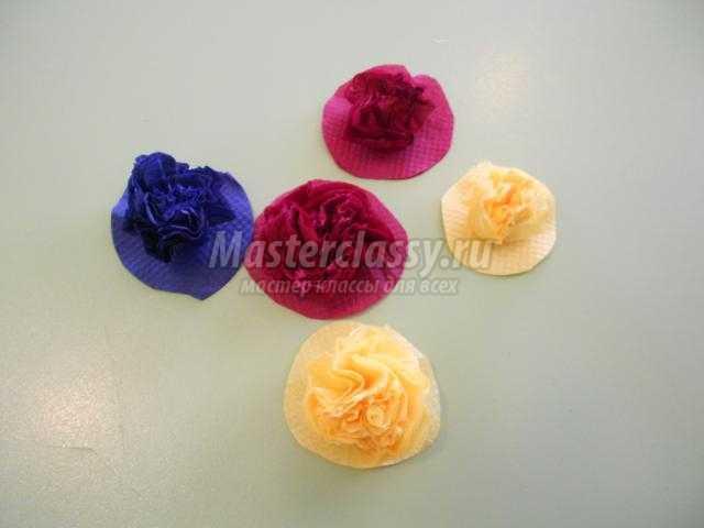 аппликация из салфеток. Букет разноцветных роз