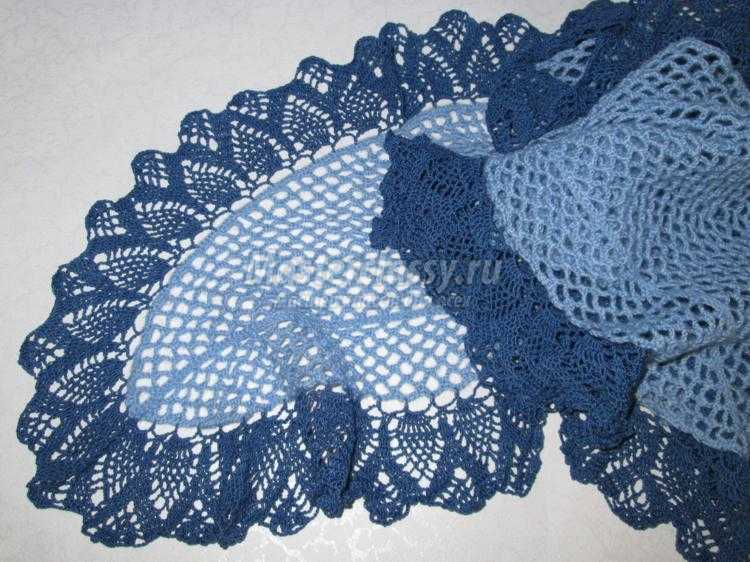 вязаный ажурный шарф крючком