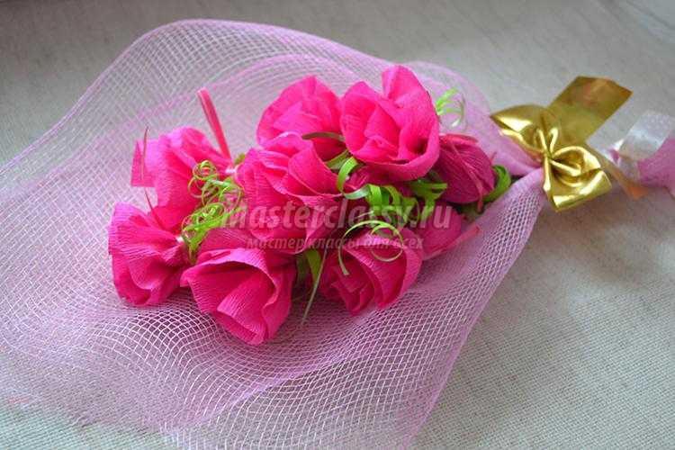 Букеты из роз и конфет своими руками пошагово