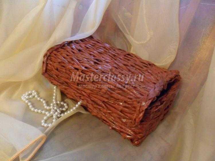 шкатулка для украшений из газетных трубочек