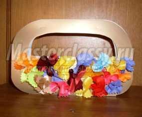Корзинка с цветами из ткани для милой мамочки. Мастер-класс